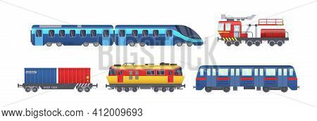 Freight Train With Wagons, Tanks, Freight, Cisterns. Railway Locomotive Train With Oil Wagon, Transp