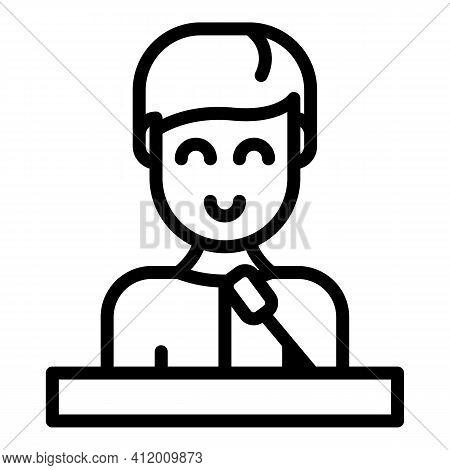 Democracy Speaker Icon. Outline Democracy Speaker Vector Icon For Web Design Isolated On White Backg