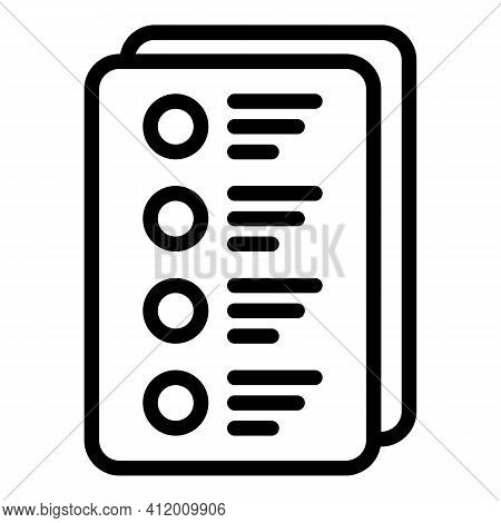Democracy Voting Form Icon. Outline Democracy Voting Form Vector Icon For Web Design Isolated On Whi