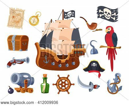 Adventure Pirate Set. Pirate Ship Equipment, Treasure Map And Box, Weapon, Parrot, Compass, Treasure