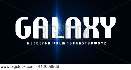 Galaxy Font, High Minimal Rounded Alphabet With Glowing Flare. Futuristic Elegant Letters For Scienc
