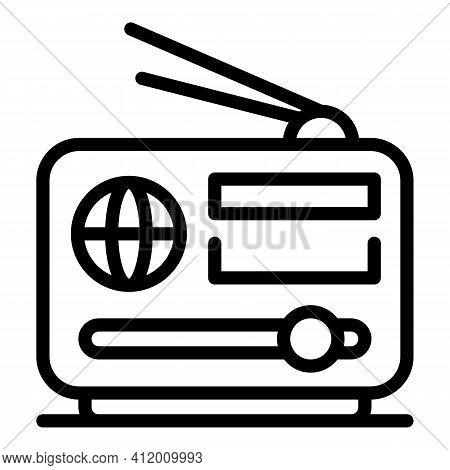 Democracy On Radio Icon. Outline Democracy On Radio Vector Icon For Web Design Isolated On White Bac