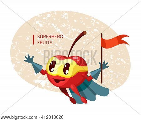 Funny Cartoon Character Fruit Cherry In Superhero Costume At Masks Emotion With Flag In Hand. Vegeta
