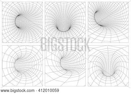 Grid Wormhole Wireframe Tunnel. 3d Gravity Quantum, Vector Wormhole Illustration. Eps 10.