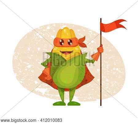 Funny Cartoon Character Vegetable Corn In Superhero Costume At Masks Emotion With Flag In Hand. Vege