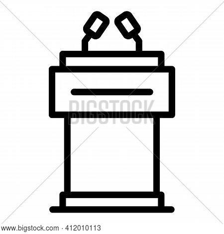 Democracy Tribune Icon. Outline Democracy Tribune Vector Icon For Web Design Isolated On White Backg