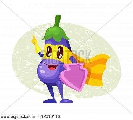 Funny Cartoon Character Vegetable Eggplant In Superhero Costume At Masks Emotion Points With Hand. V