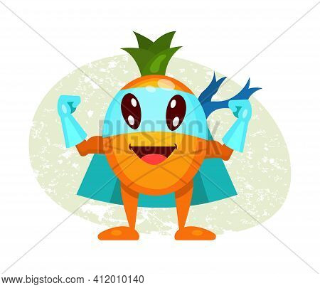 Funny Cartoon Character Fruit Pineapple In Superhero Costume At Masks Emotion With Hands Up. Vegetab