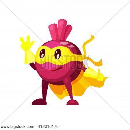 Funny Cartoon Character Vegetable Beet In Superhero Costume At Masks Emotion. Vegetable Character Su
