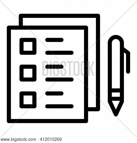 Democracy Checklist Icon. Outline Democracy Checklist Vector Icon For Web Design Isolated On White B