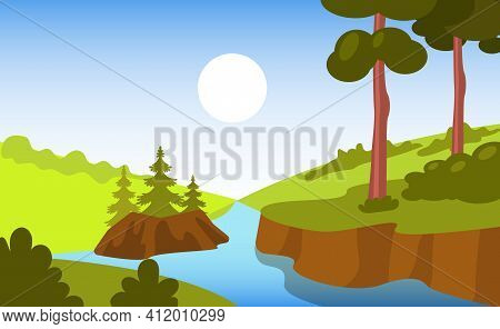 Beautiful Forest Landscape Background. Bright Summer Landscape Of Forest Space With River, Trees At