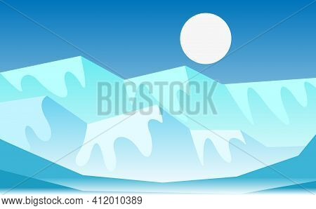 Vector Cartoon Arctic Ice Landscape With Iceberg, Sea, Hills And Snow Mountains. Abstract Gradient L