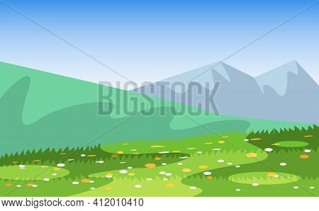 Vector Cartoon Field Landscape Of Summer Meadows, Grass With Flowers, Vegetation, Mountains And Hill