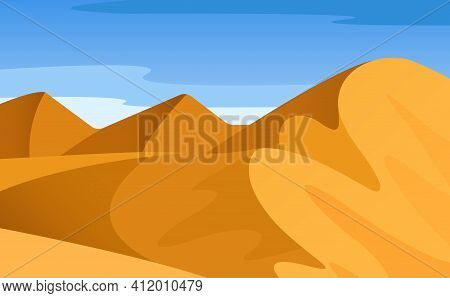 Vector Cartoon Bright Landscape, View Of Desert With Mountains, Hills, Loose Sand, Endless Expanses,