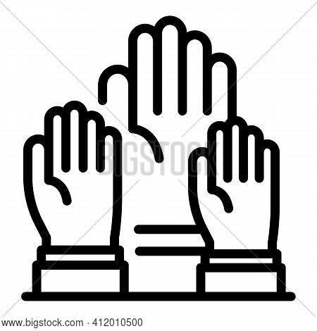 Democracy Hands Icon. Outline Democracy Hands Vector Icon For Web Design Isolated On White Backgroun