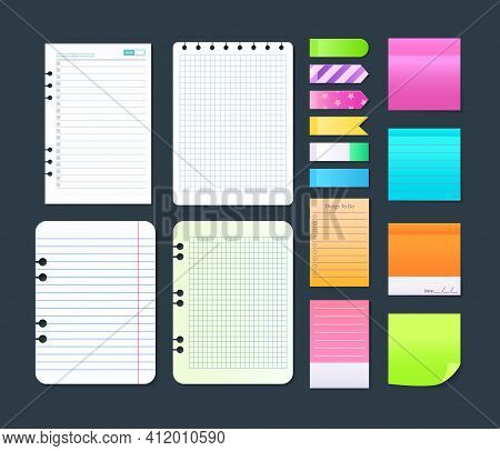 Sticky Notebook Paper. Set Colorful Memo, Blank Torn Pages Sheets, Sticky Pieces Of Ripped Paper. Ad
