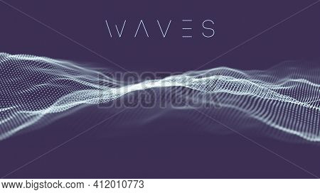 Data Technology Abstract Futuristic Illustration . Dots And Lines On Purple Background. 3d Rendering