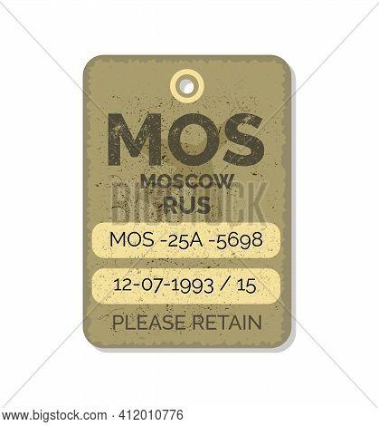 Old Vintage Luggage Tag. Baggage Checks Or Ticket For Passenger Flight. Baggage Ticket For Passenger