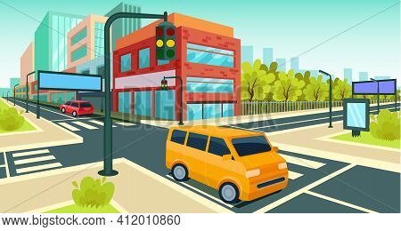 City Road Perspective View. Highway Road With City Skyline, Nature Landscape. Vector Scene With Asph