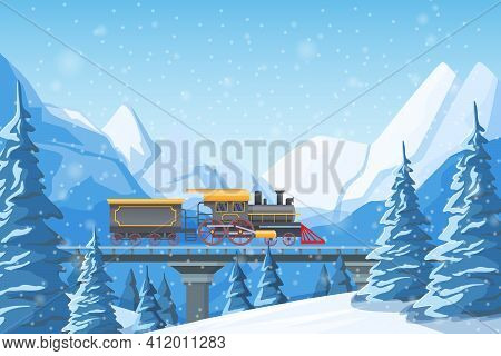 Retro Train Traveling By Rail, On A Bridge, Among Mountains, Snow-covered Hills, Winter Forest Pines