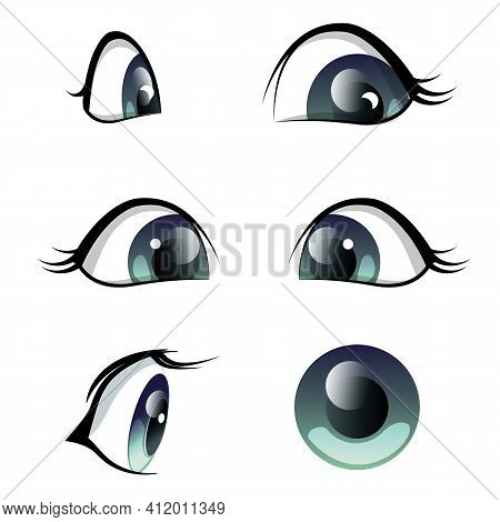 Set Of Blue Eyes Cartoon Character, Anime In Different Angles. Vector Illustration Of Female, Baby E