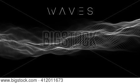 Data Technology Abstract Futuristic Illustration. Sound Waves With Music Waves 3d Rendering. Big Dat