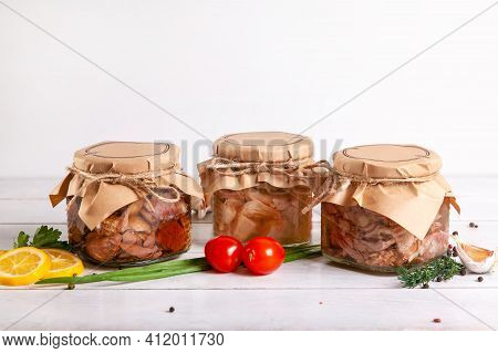 Homemade Canned Meat From Farm Poultry-goose, Duck, Chicken. Glass Jars With Canned Poultry Meat.