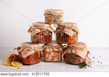 Homemade Canned Meat From Farm Poultry-goose, Duck, Chicken, Pork And Beef, Canned Fish From Mackere