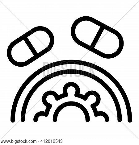 Antibiotic Fight Icon. Outline Antibiotic Fight Vector Icon For Web Design Isolated On White Backgro