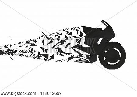 Polygonal High-speed Motorcycle Crumbling Into Small Fragments. 3d. Side View. Vector Illustration