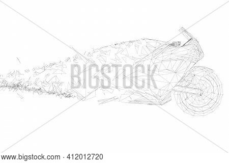 The Motorcycle Contour Is Crumbling Into Small Fragments. Side View. Vector Illustration