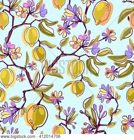 Seamless Lemon, Pattern With Tropic Fruits, Leaves, Blooming Flowers Branch Background. Hand Drawn V