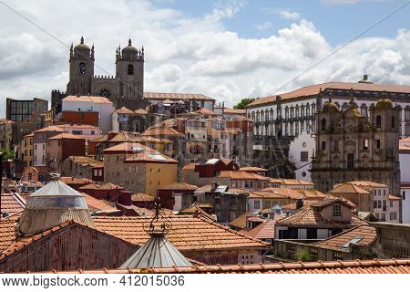 Porto, Portugal. Aerial Cityscape Image Of Porto, Portugal With The Porto Cathedral And Old Town On