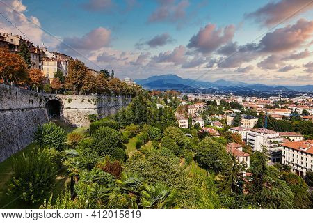 Bergamo, Italy - August 18, 2017: Panoramic View Of The City Of Bergamo From The Castle Walls