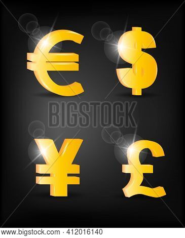 Set Of Volumetric Icons Of Currencies: Dollar, Euro, Yen And Pound On A Black Background. The Curren