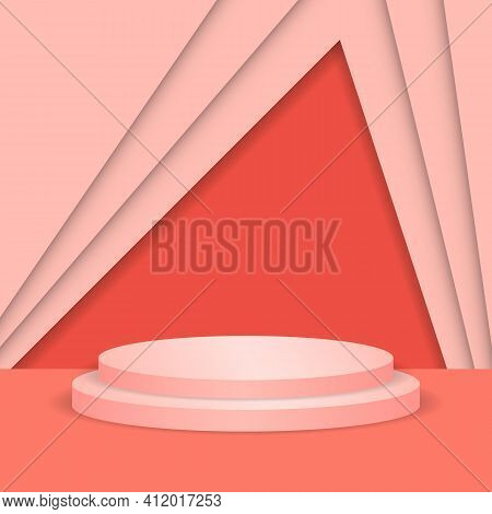 Abstract Round Display Scene For Product. Circle Podium In Pink Background To Show Cosmetic Product,