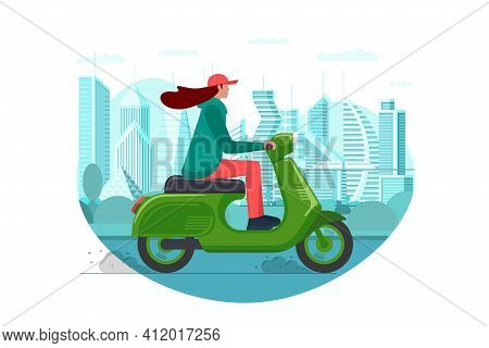 Female Hipster Riding Retro Style Scooter On Modern City Park Road. Millennial Woman Drives Green Mo