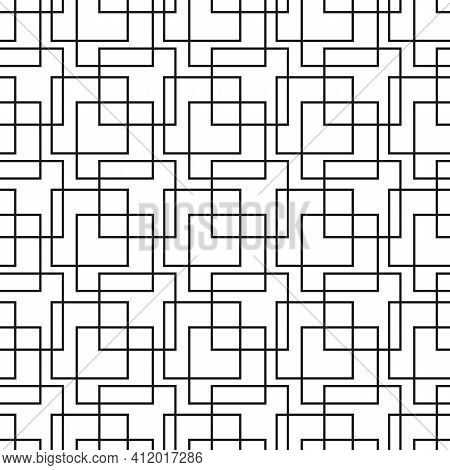 Geometric Simple Seamless Vector Pattern With Black Lines Texture On White Background. Stylish Moder