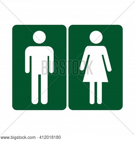 Girls And Boys Restroom Pictograms. Funny Toilet Couple Signing, Desperate Pee Woman Man Wc Icons, F