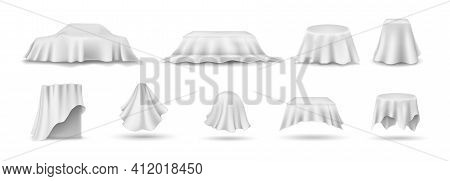 Set Of Draped Table Covers. Realistic Hanging Napkin, Tablecloth, Curtain. White Silk Cloth Covered
