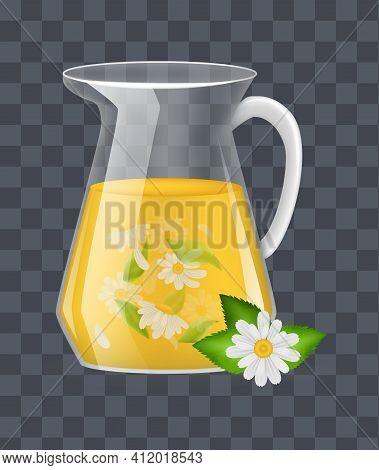 Realistic Glass Decanter With Of Chamomile Custard Tea With Chamomile Leaves And Flowers Infographic