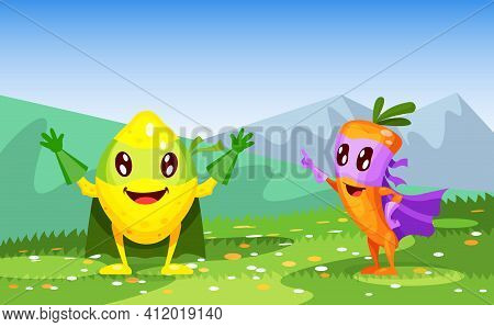Funny Cartoon Characters Fruits In Superhero Costumes Lemon And Carrot. Fruit Together, Lemon Happil