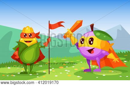 Funny Cartoon Character Fruit Plum In Superhero Costume At Masks Emotion With Hands Up, Corn With Fl