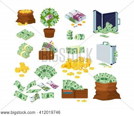 Euro And Dollars Money Banknotes And Coins. Bag Of Gold Coins, Money Tree With Bills, Suitcase Of Mo