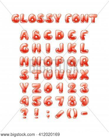 Comic Game Font Cartoon Bubble Lettering, Fonts. Colorful Lowercase Letters Of An Alphabet With Glin