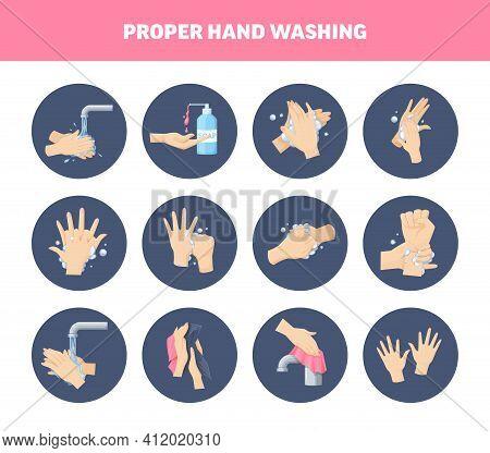 Medical Instruction Stages Proper Care Of Proper Hand Washing, Preventive Maintenance Of Bacteria, V