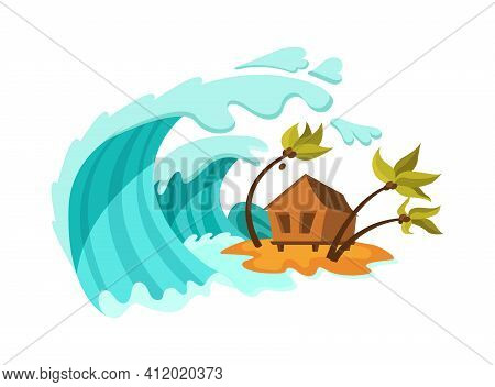 Natural Disasters Tsunami. Natural Strong Disaster With Rain, Tsunami Water Waves Covering The House