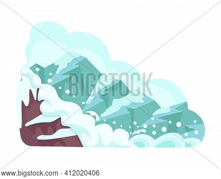 Natural Disasters Snow Avalanches In The Mountains. Cataclysm, Catastrophe, Destruction Of Nature Ca