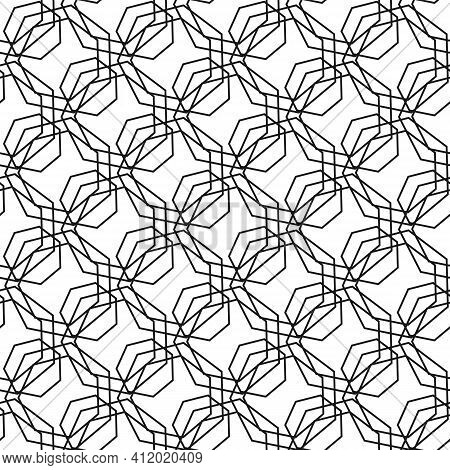 Geometric Vector Simple Seamless Pattern With Black Lines Texture On White Background. Seamless Orna