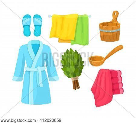 Bath Accessories Cartoon Set. Bath Towels, Bathrobes, Hygiene Products, Sauna Barrel, Slippers, Broo